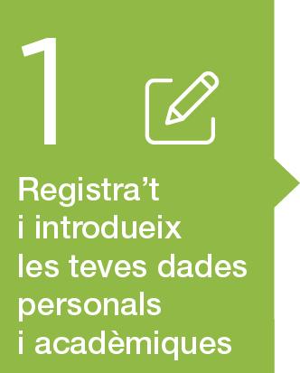 1. Registrar-se. Introduir les dades personals i acadèmiques