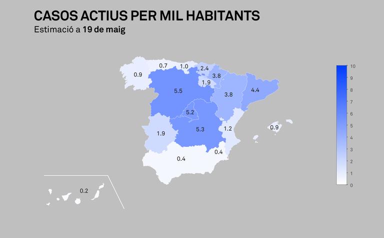 Casos actius de COVID-19 per 1.000 habitants