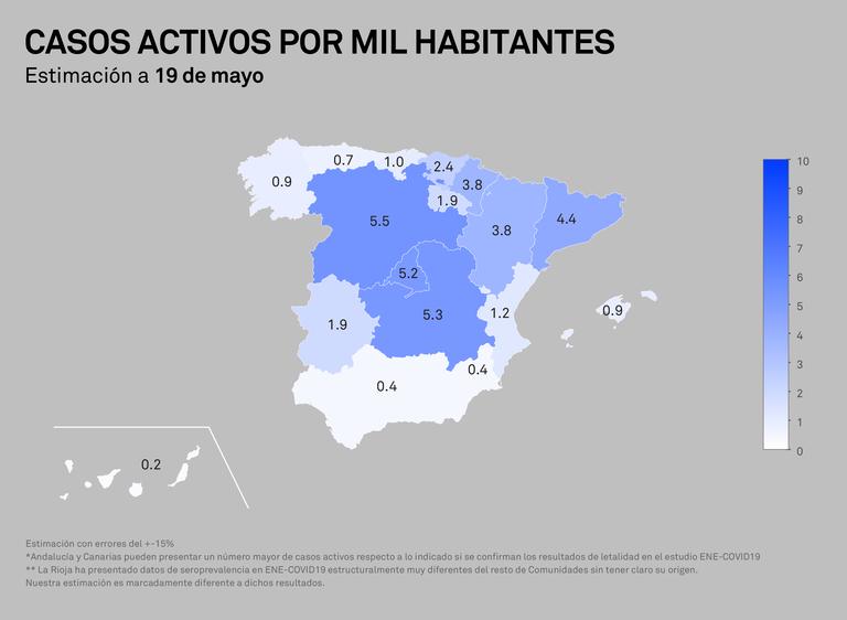 Casos actius per mil habitants - 19 de maig