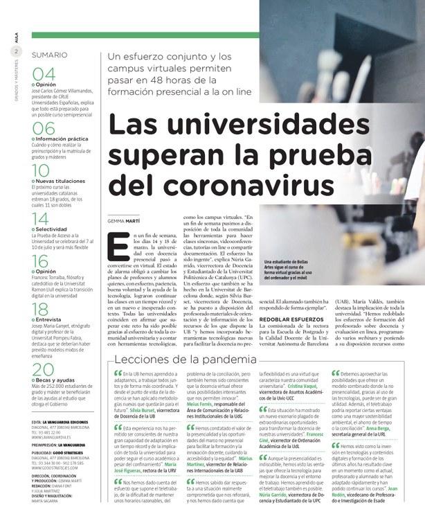 Las universidades superan la prueva del coronavirus - LV Aula
