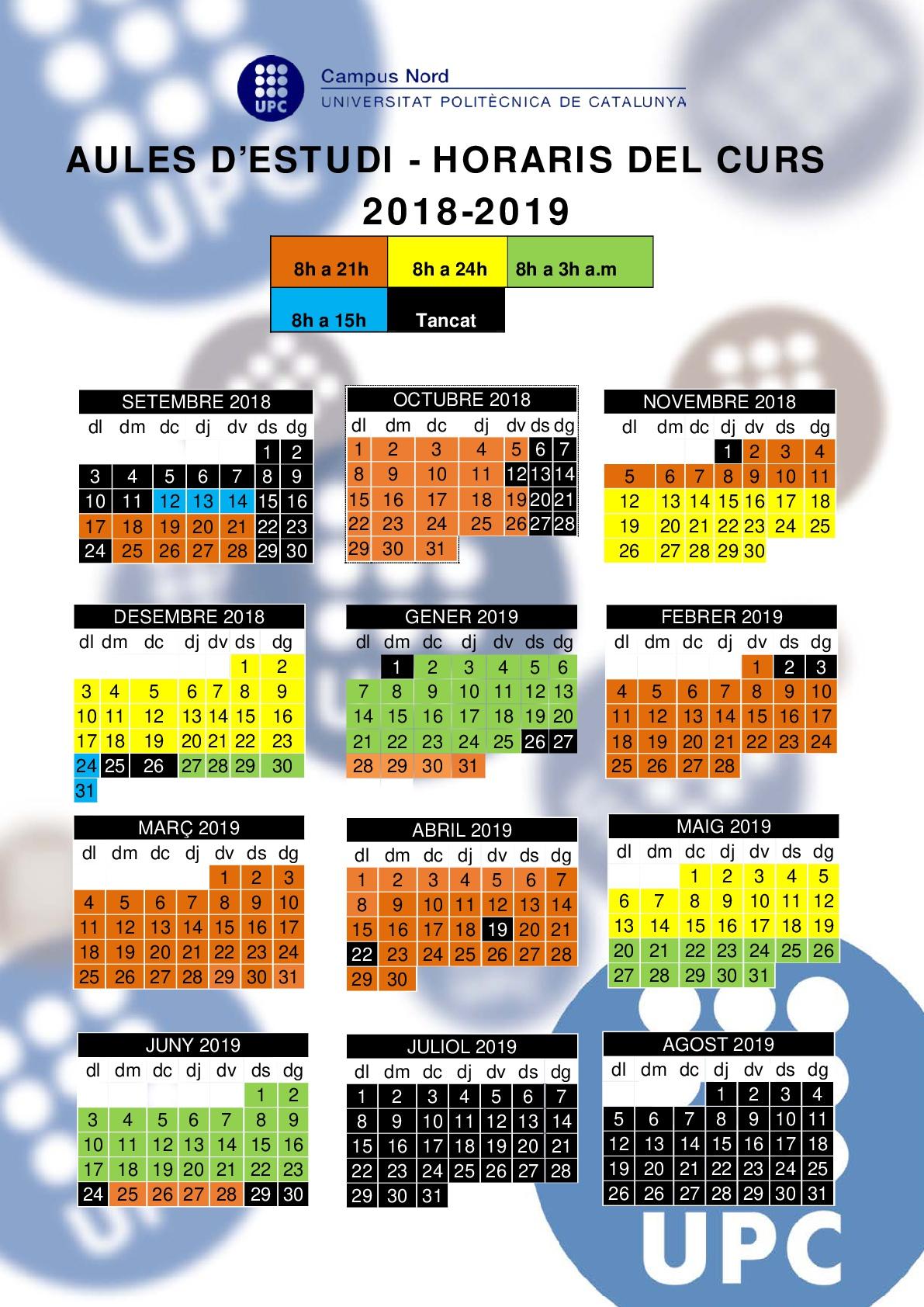Calendari Aules 18-19