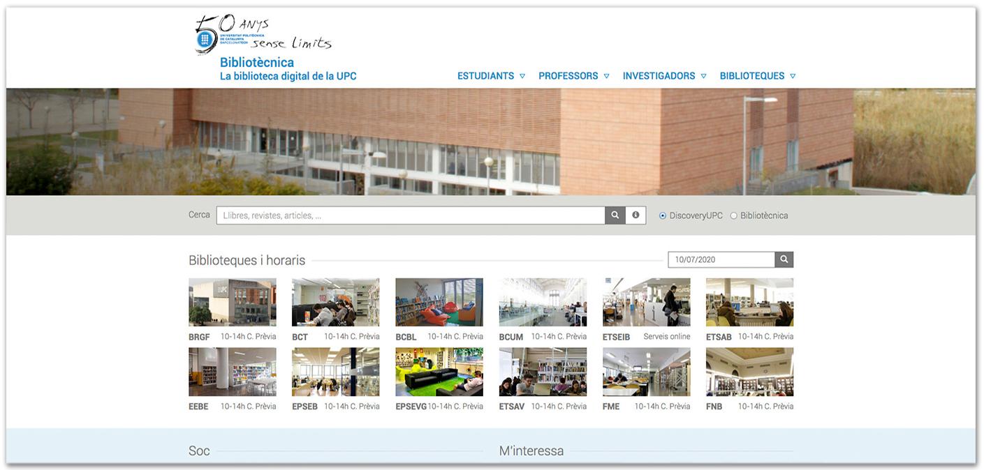 Imatge de la web de Biblioteques amb marca commemorativa dels 50 anys