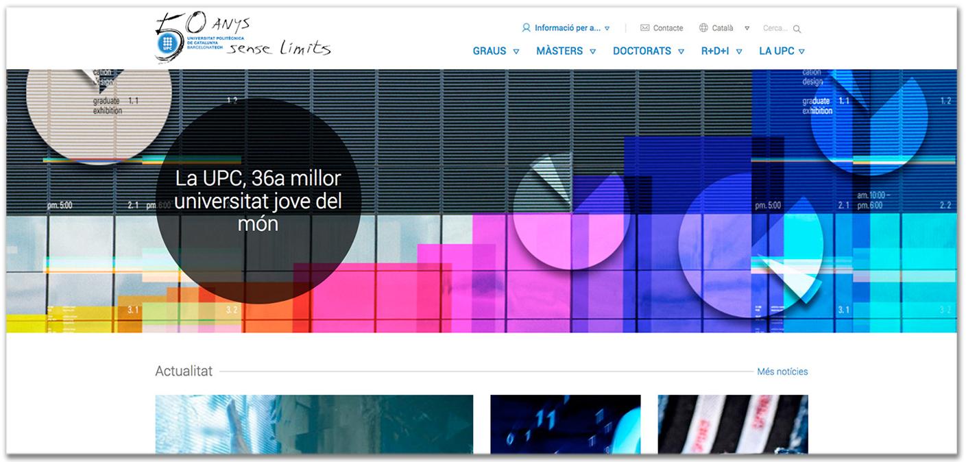 Imatge de la web UPC amb marca commemorativa dels 50 anys