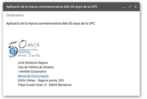 Imatge signatura correu electrònic amb marca 50 anys UPC