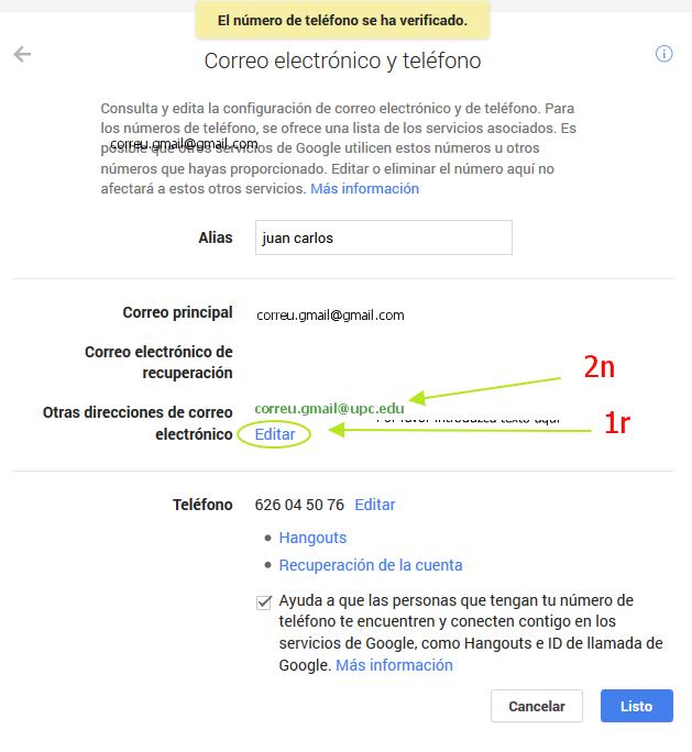 edicio del compte google