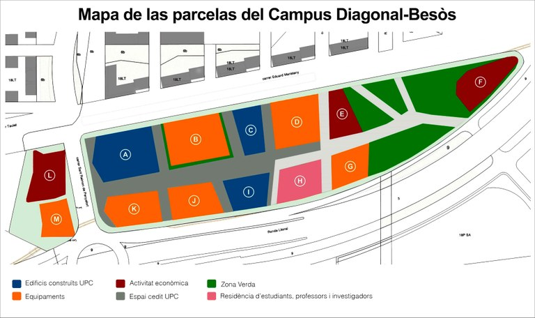 Mapa de parcelas del Campus Diagonal-Besòs (2020)