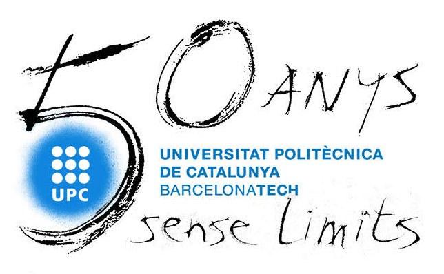 Logo dels 50 anys de la UPC, obra de l'artista Perico Pastor