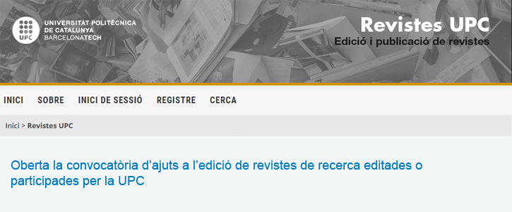 Oberta la convocatòria d'ajuts per a l'edició de revistes de recerca editades o participades per la UPC
