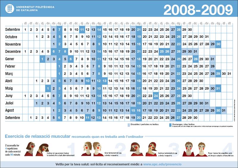 Calendari prevenció UPC 2008-2009