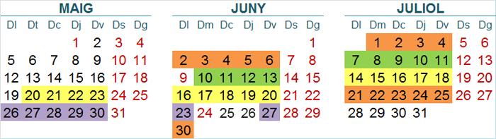 Calendari inicial resta vips